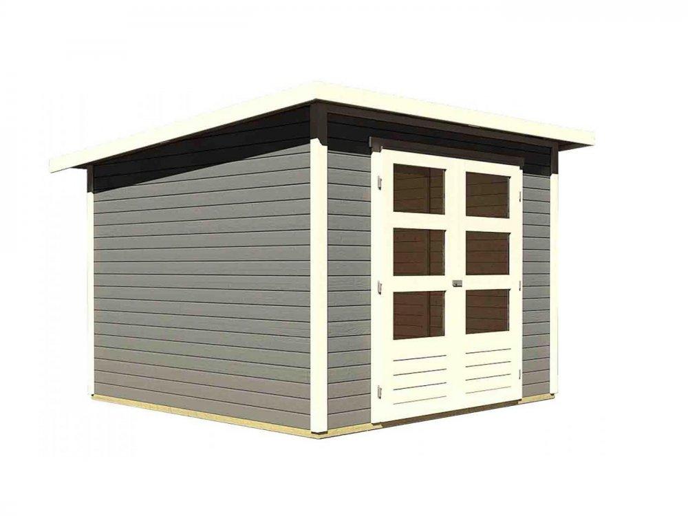 drevený domček KARIBU STOCKACH 4 (82981) tm. sivý