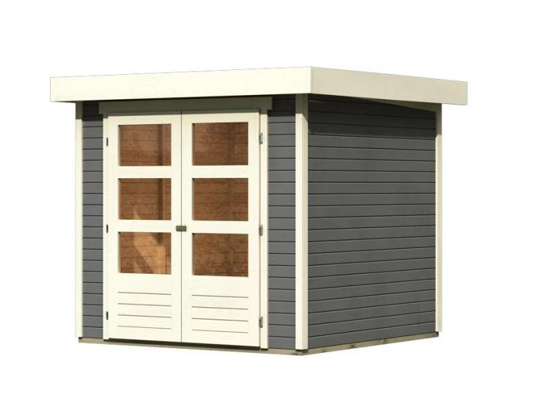 drevený domček KARIBU ASKOLA 2 (82901) tm. sivý