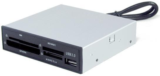 GEMBIRD USB 2.0 CITACKA KARIET 3.5''CF/MD/SM/MS/SD/MMC/XD CARD,VNUTORNA,CIERNA