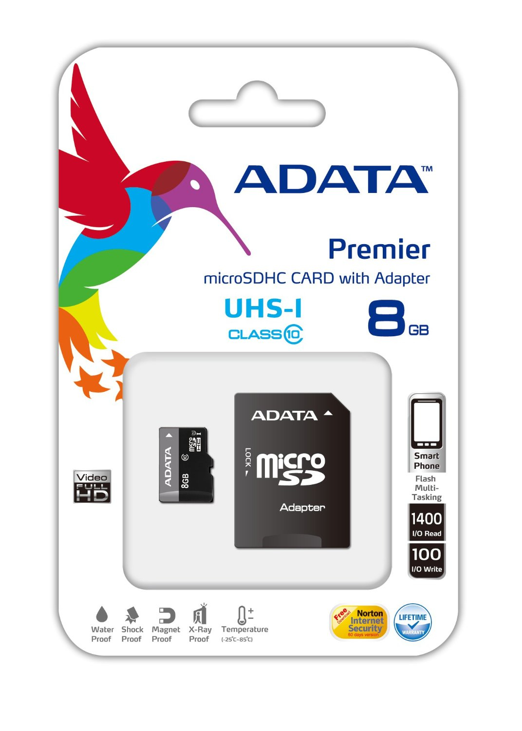 A-DATA PREMIER MICRO SDHC 8GB UHS-I CLASS 10 S ADAPT. AUSDH8GUICL10-RA1