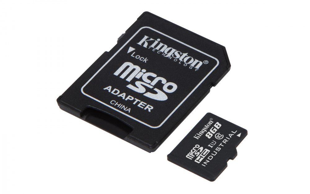 KINGSTON 8GB MICROSDHC UHS-I CLASS 10 INDUSTRIAL TEMP CARD+SD ADAPTER, SDCIT/8GB