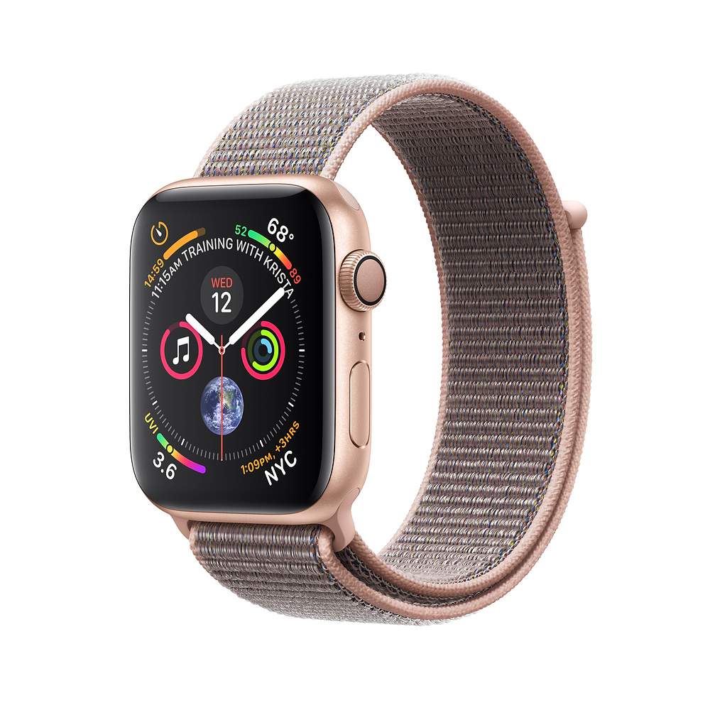 APPLE WATCH SERIES 4 GPS 44MM GOLD ALUMINUM CASE WITH PINK SAND SPORT LOOP MU6G2VRA vystavený kus