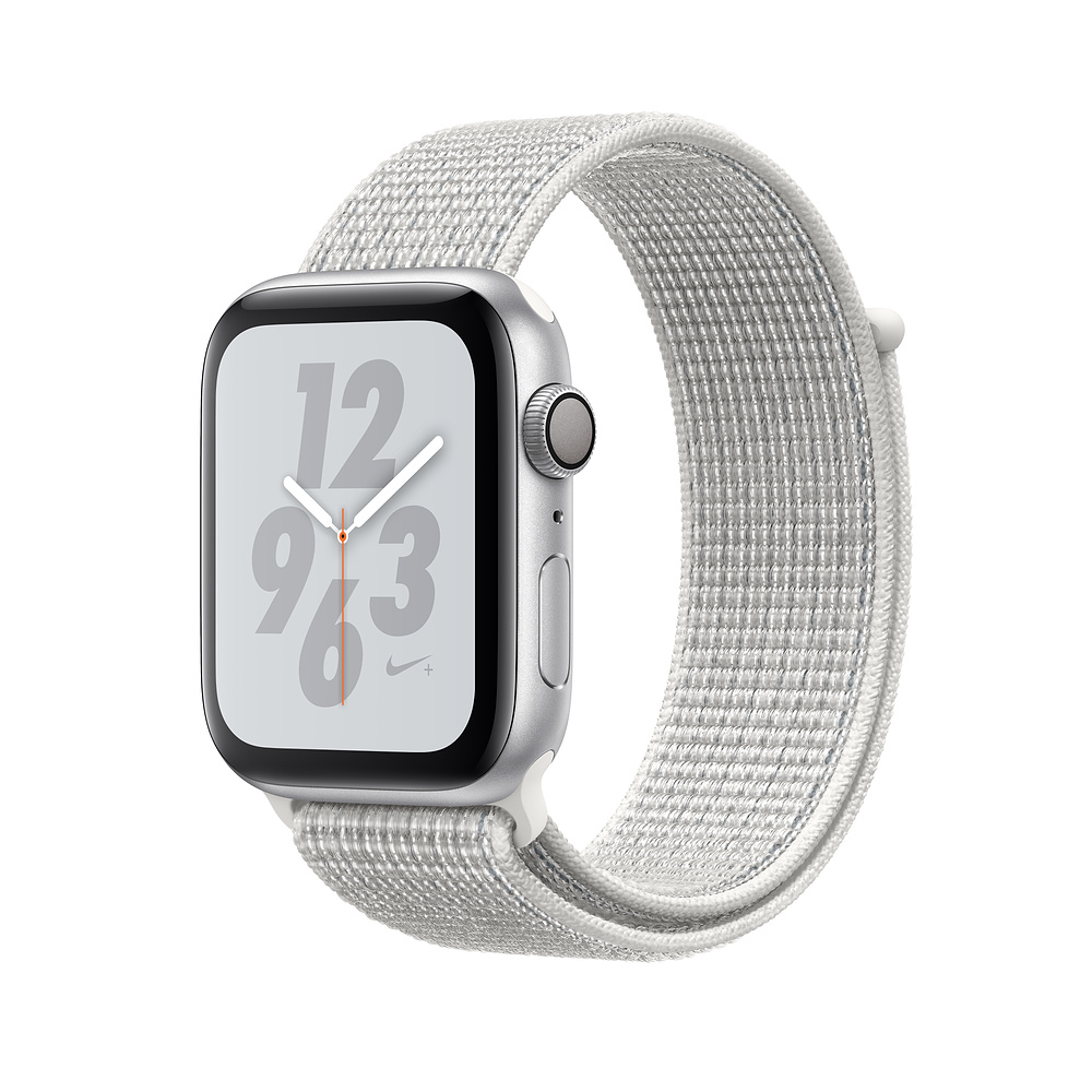 APPLE WATCH SERIES 4 NIKE GPS 44MM SILVER ALUMINUM CASE WITH SUMMIT WHITE NIKE SPORT LOOP MU7H2HCA vystavený kus