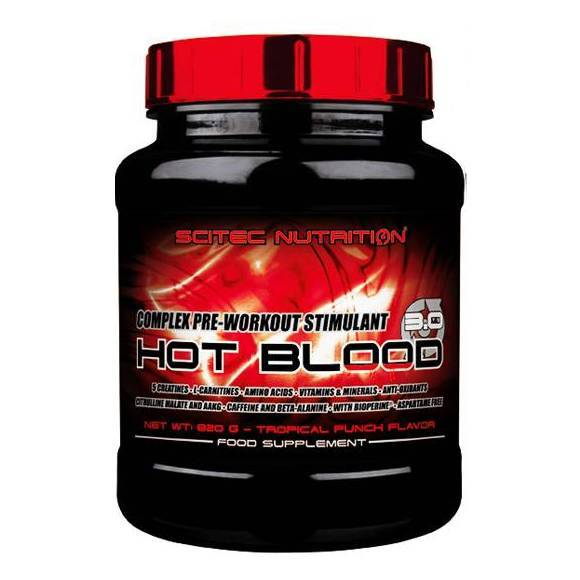 SCITEC HOT BLOOD 30  820G TROPICKY PUNC