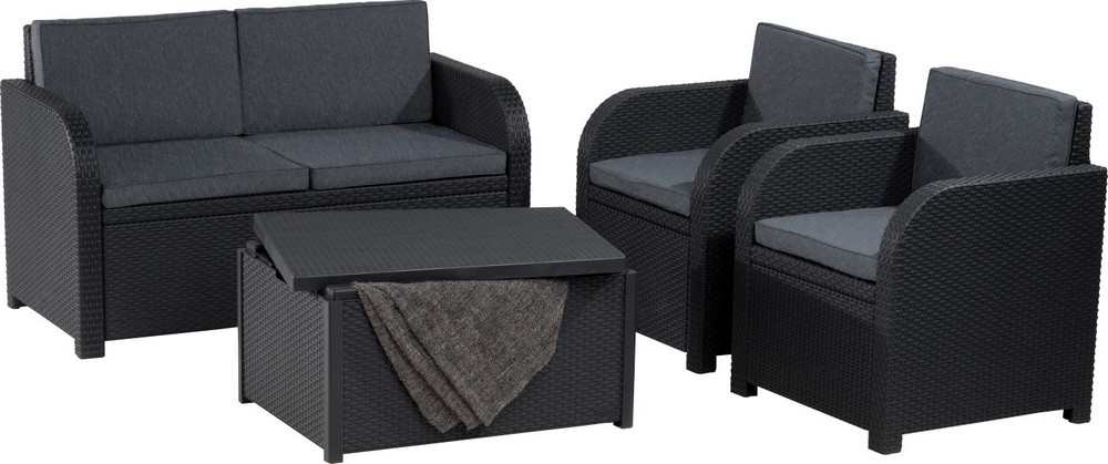 ALLIBERT 218236 MODENA SET WITH STORAGE TABLE GRAPHIT COOLGREY