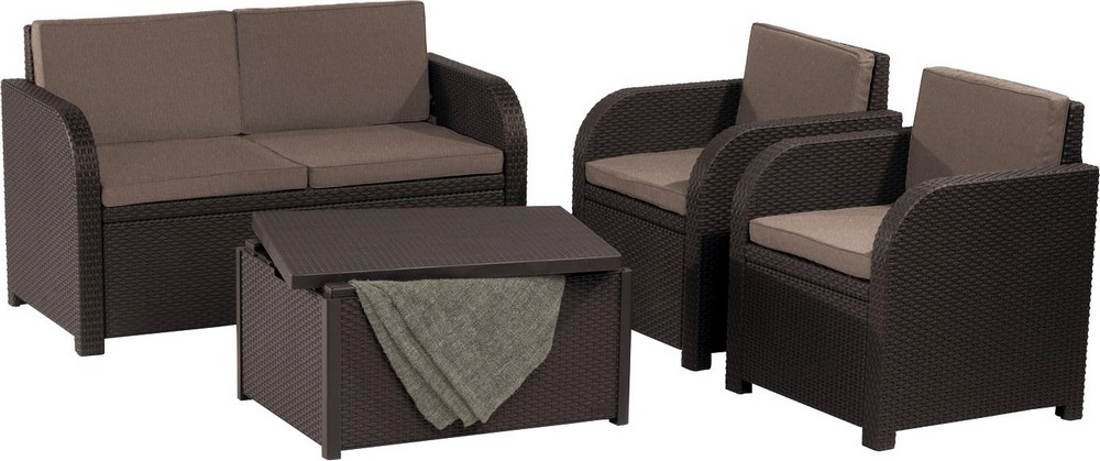 ALLIBERT 227855 MODENA SET WITH STORAGE TABLE BROWN WARM TAUPE