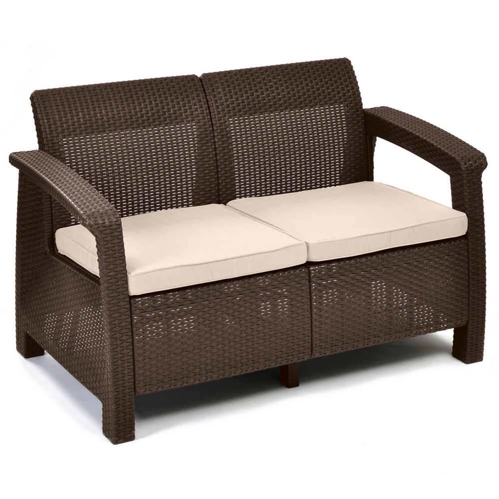 ALLIBERT 214770 POHOVKA CORFU LOVE SEAT BROWN  BEIGE