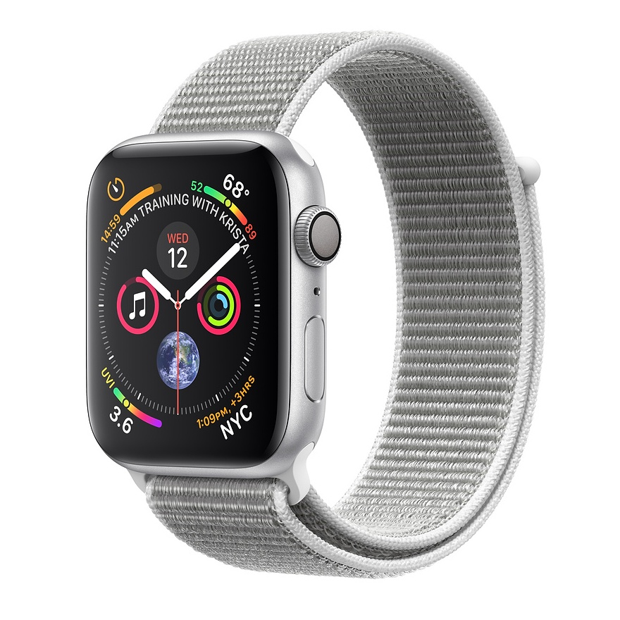 APPLE WATCH SERIES 4 GPS 44MM SILVER ALUMINUM CASE WITH SEASHELL SPORT LOOP MU6C2VRA