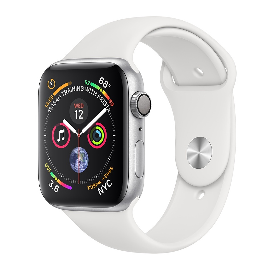 APPLE WATCH SERIES 4 GPS 44MM SILVER ALUMINUM CASE WITH WHITE SPORT BAND MU6A2VRA vystavený kus