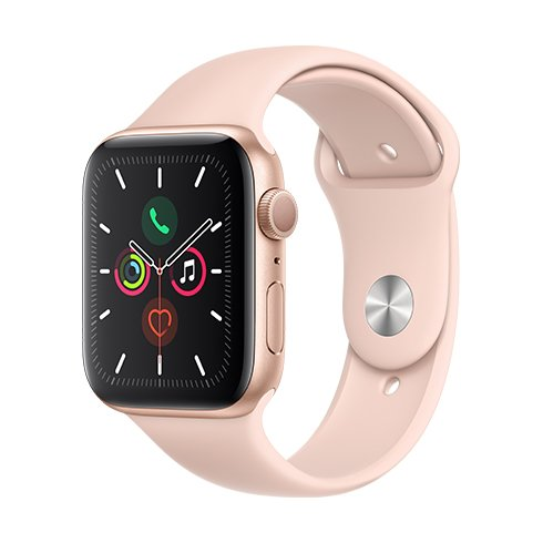 APPLE WATCH SERIES 5 GPS 44MM GOLD ALUMINIUM CASE WITH PINK SAND SPORT BAND  SM  ML MWVE2VRA