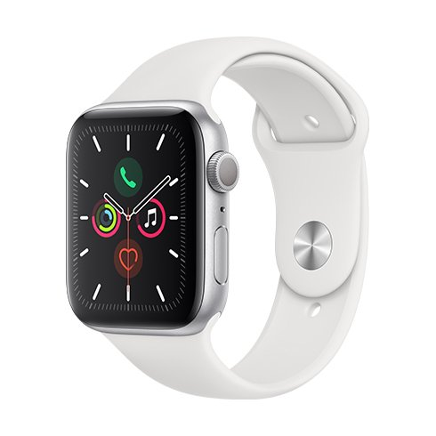 APPLE WATCH SERIES 5 GPS 44MM SILVER ALUMINIUM CASE WITH WHITE SPORT BAND  SM  ML MWVD2VRA