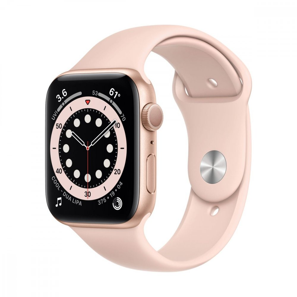 APPLE WATCH SERIES 6 GPS 44MM GOLD ALUMINIUM CASE WITH PINK SAND SPORT BAND M00E3VRA