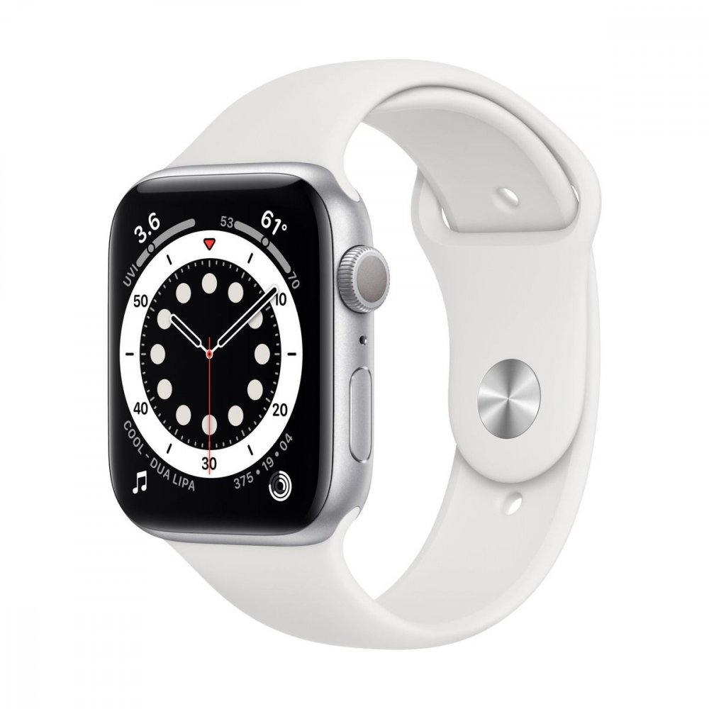 APPLE WATCH SERIES 6 GPS 44MM SILVER ALUMINIUM CASE WITH WHITE SPORT BAND M00D3VRA