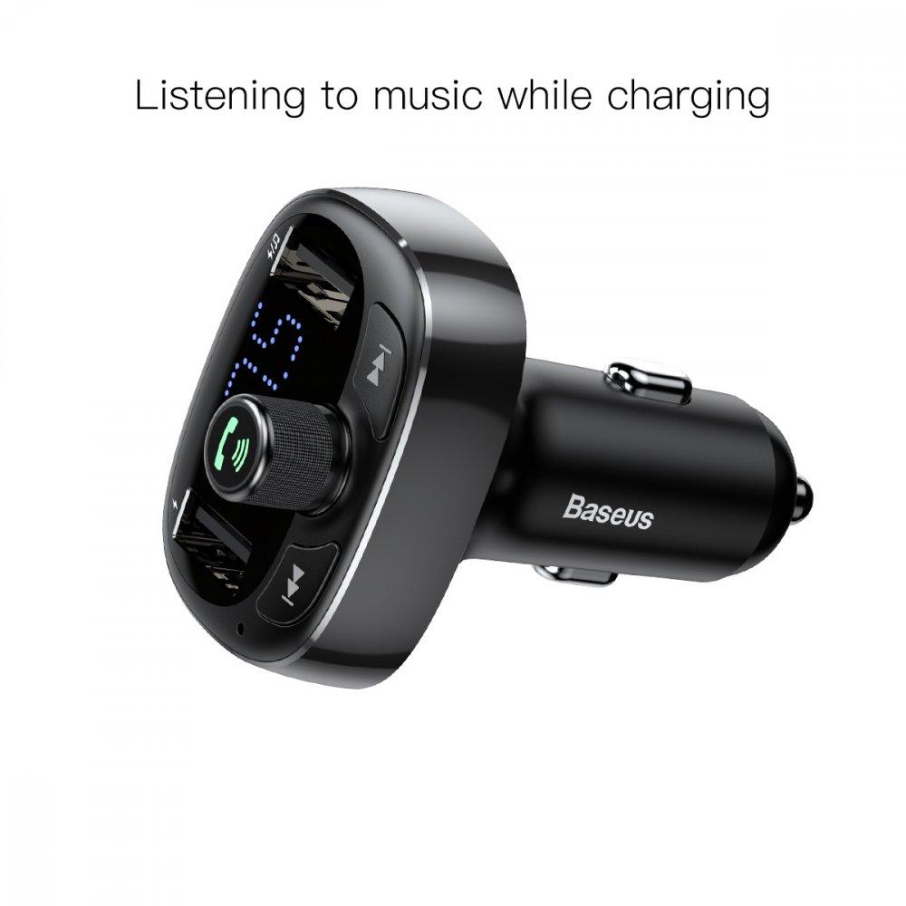 BASEUS NABIJACKA DO AUTA BLUETOOTH FM TRANSMITTER T-TYPED MP3 USB TF MICROSD 3.4A CIERNY (CCALL-TM01