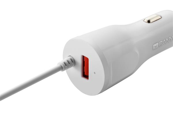 CANYON CNE-CCA033W, UNIVERZALNA AUTONABIJACKA, 1X USB, VYSTUP 5V/2,4A, SMART IC, INTEGROVANY KABEL L