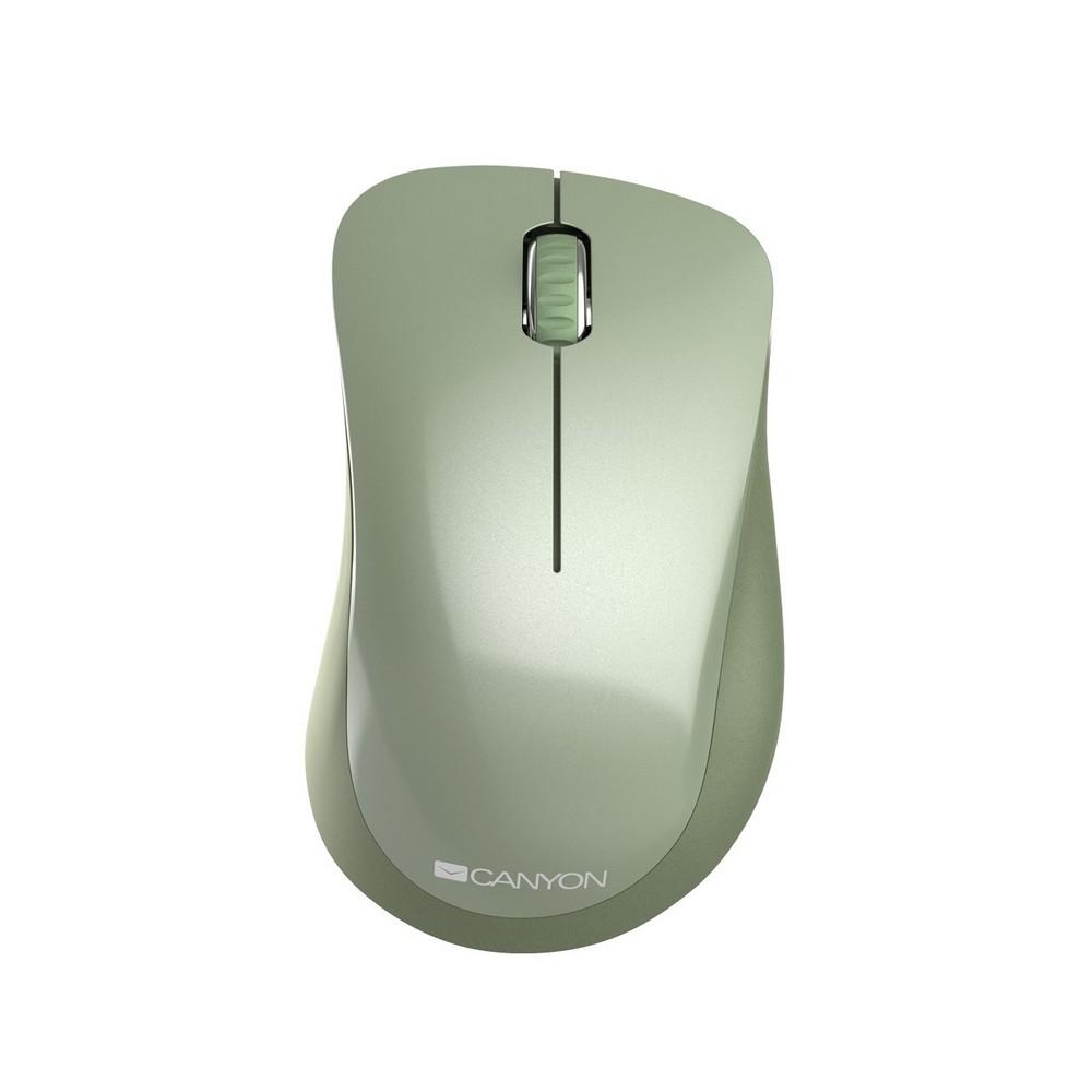 CANYON CNE-CMSW11SM, WIRELESS OPTICKA MYS PIXART 3065, USB, 1200 DPI, 3 TLAC, KHAKI ZELENA