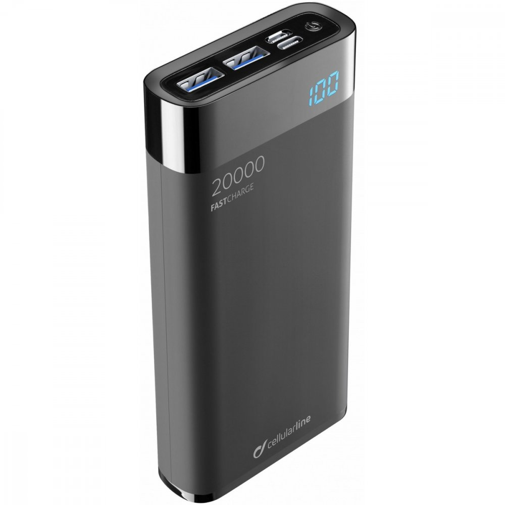 CELLULARLINE KOMPAKT POWERBANK FREEPOWER MANTA HD 20000MAH SMARTPH DETECT USBC2XUSB PORT