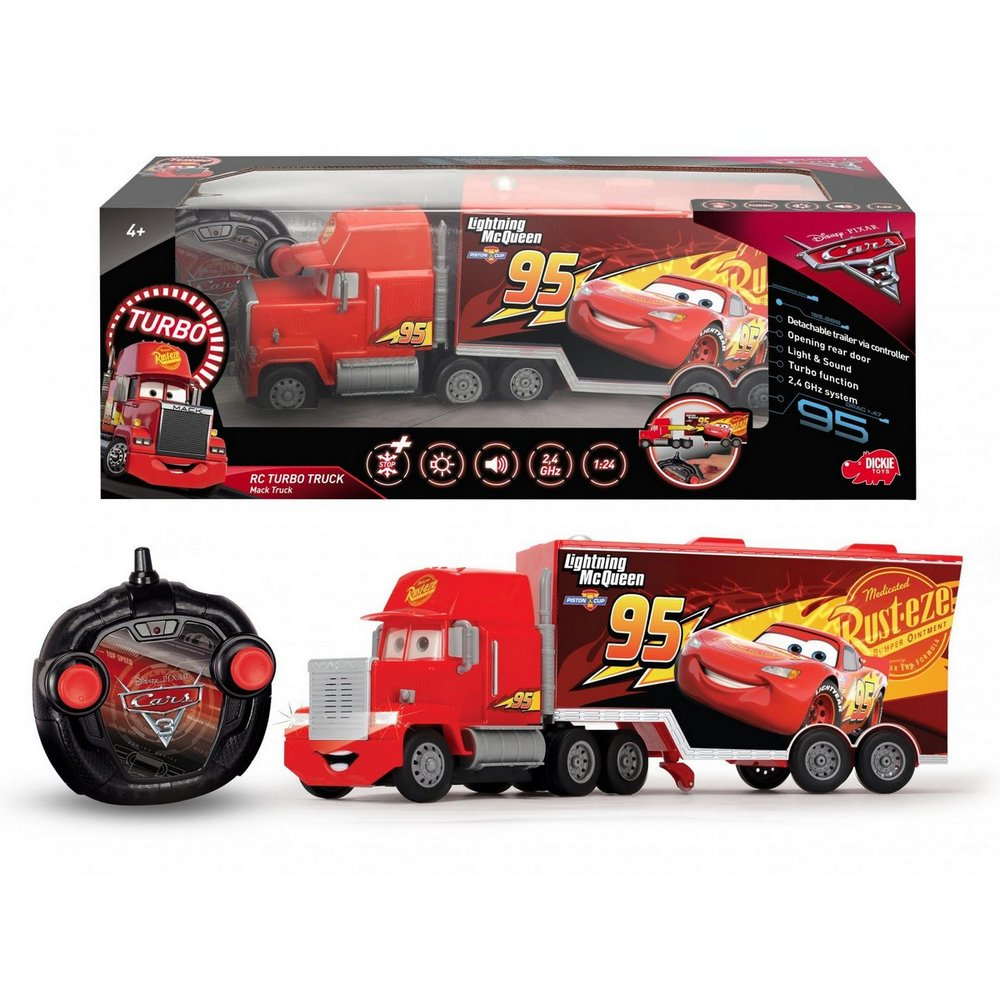 DICKIE RC CARS 3 TURBO MACK TRUCK 46 CM 3KAN D 3089025