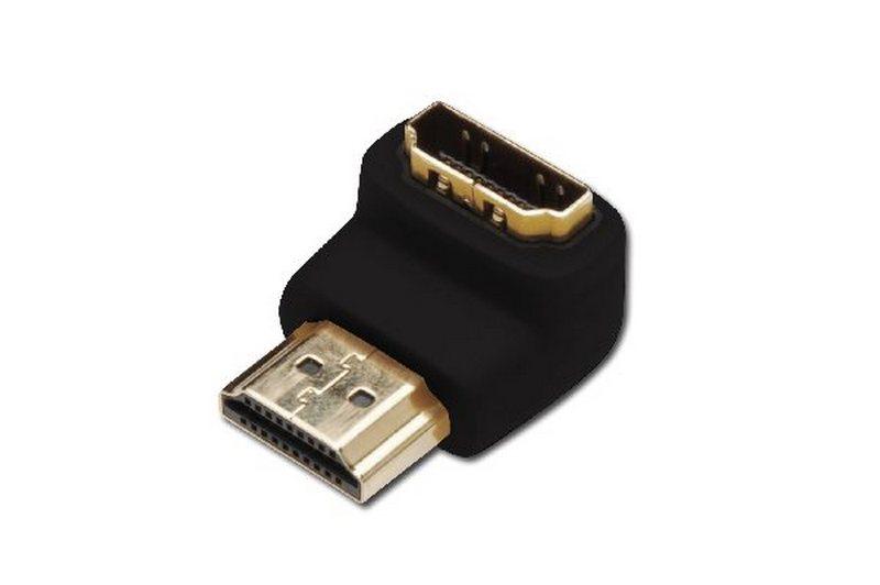 DIGITUS ADAPTER HDMI, TYP A, 90O UHLOVY M / F, ULTRA HD 60P, BL, ZLATE AK-330502-000-S