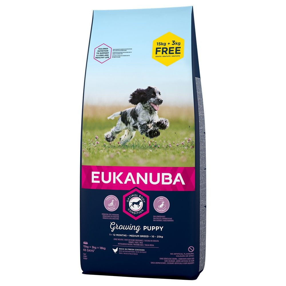 EUKANUBA PUPPY AND JUNIOR MEDIUM 15+3 KG