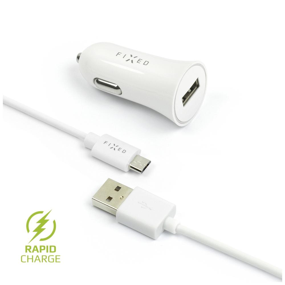 FIXED FIXCC-UM-WH AUTONABIJECKA S ODNIMATELNYM MICRO USB KABLOM, 2,4A, BIELA