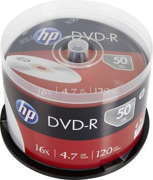 HP DVD-R, DME00025-3, 50-PACK, 4.7GB, 16X, 12CM, CAKE BOX, BEZ MOZNOSTI POTLACE, PRE ARCHIVACIA DAT