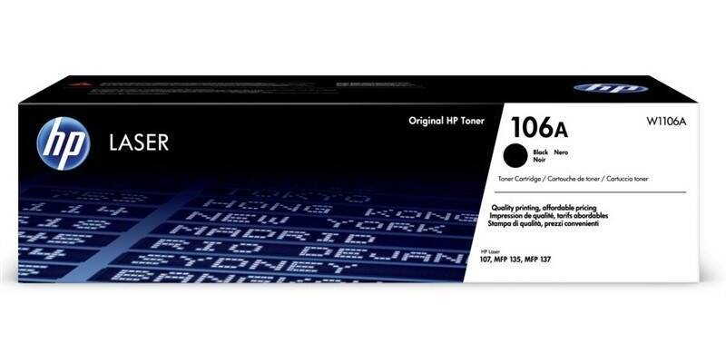 HP ORIGINAL TONER W1106A, BLACK, 1000STR., HP 106A, HP LASER 107, MFP 135, MFP 137