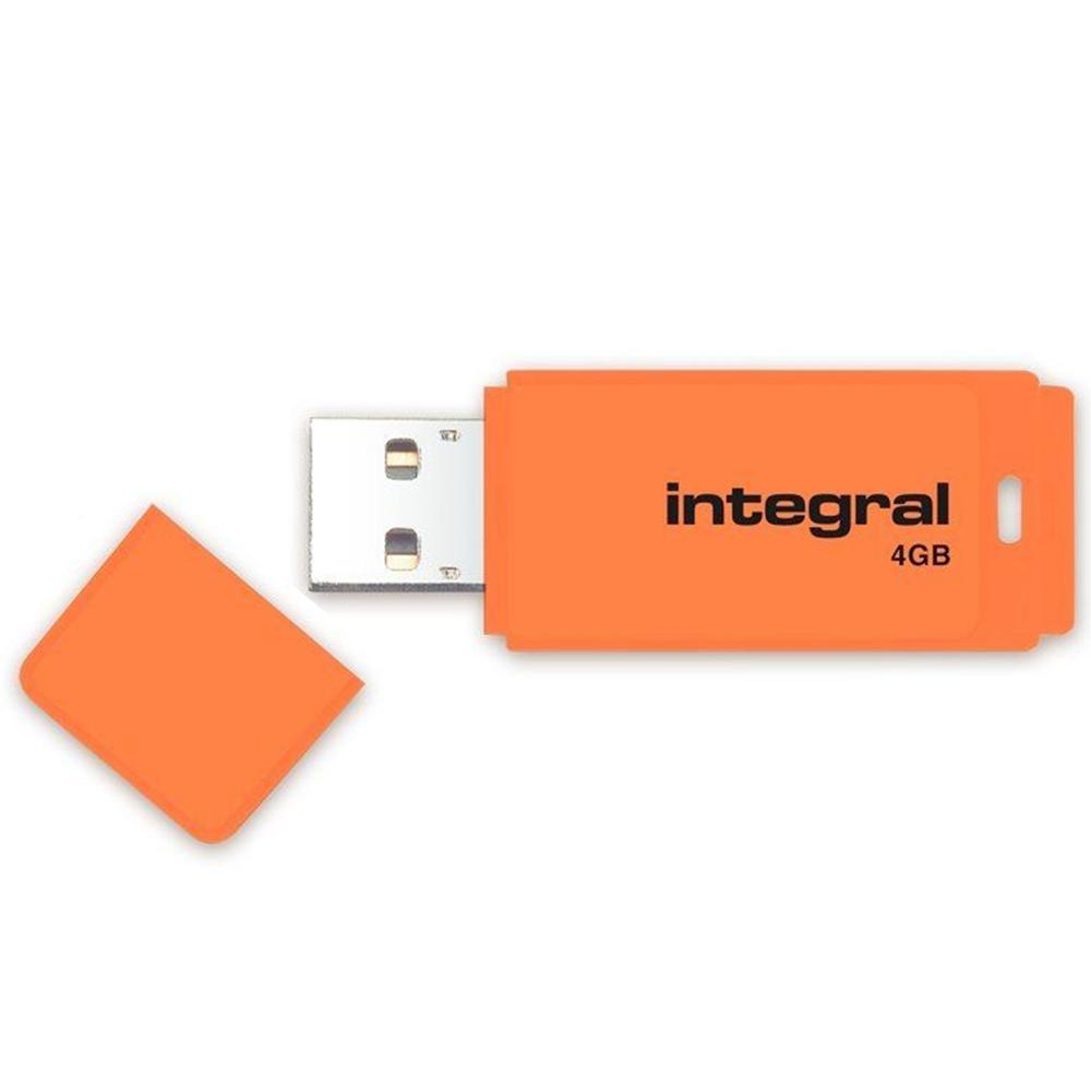INTEGRAL DRIVE NEON 4GB USB 2.0 FLASHDISK, ORANZOVY, INFD4GBNEONOR