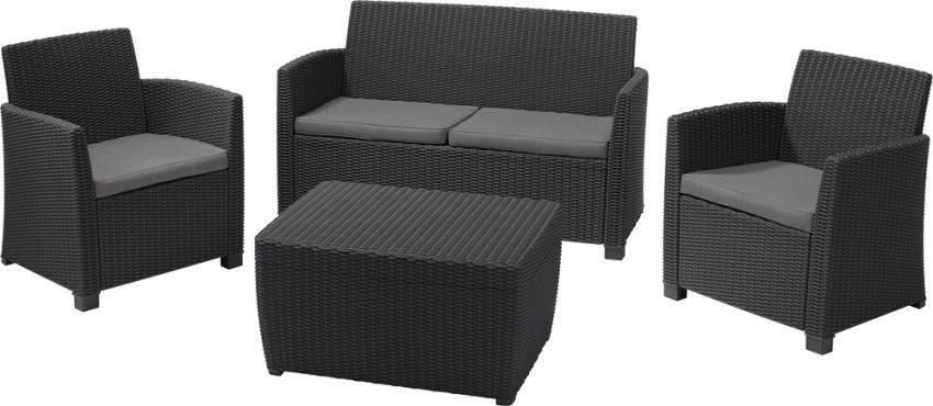 ALLIBERT 231616 CORONA SET WITH CUSHION BOX GRAPHITE COOLGREY