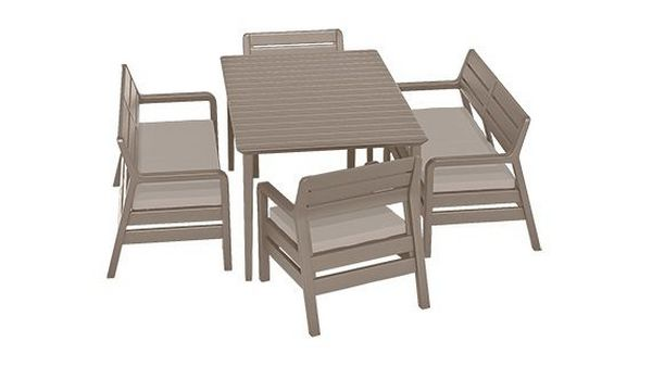 ALLIBERT 233329 DELANO SET WITH LIMA TABLE 160 CAPPUCCINO SAND