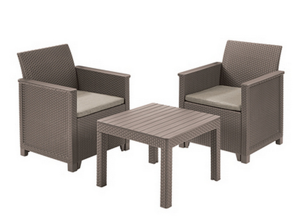 ALLIBERT 246122 EMA BALCONY SET SMOOTH ARMS WITH VLASSIC TABLE (CHICAGO TABLE) CAPPCCINO SAND
