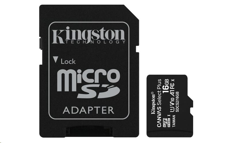 KINGSTON 16GB MICROSDHC CANVAS SELECT PLUS A1 CL10 100MB/S + ADAPTER