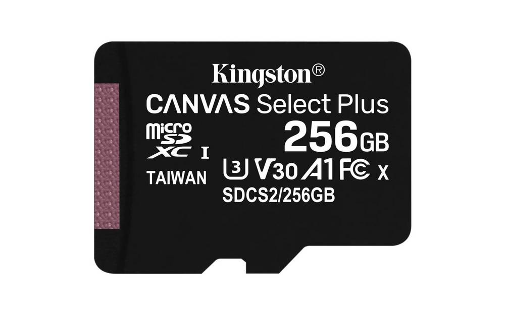 KINGSTON 256GB MICROSDXC CANVAS SELECT PLUS A1 CL10 100MBS BEZ ADAPTERU SDCS2256GBSP