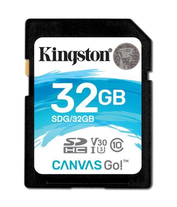KINGSTON 32GB SDHC CANVAS GO 90R/45W CL10 U3 V30 SDG/32GB