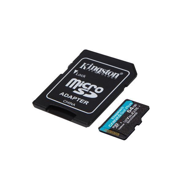 KINGSTON 64GB MICROSDXC CANVAS GO! PLUS A2 U3 V30 170MB/S + ADAPTER, SDCG3/64GB