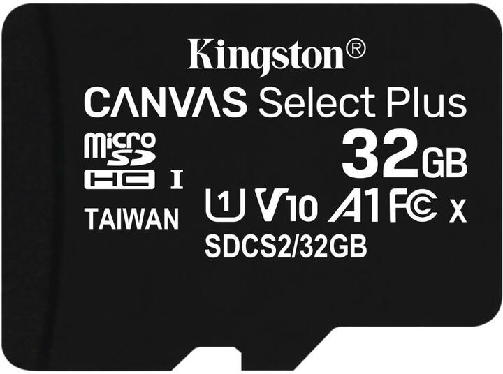 KINGSTON MICROSDHC 32GB A1 CL10 100MB/S BEZ ADAPTERU