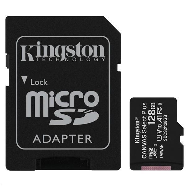 KINGSTON MICRO SDXC CANVAS 128GB UHS-I + ADAPTER, SDCS2/128GB