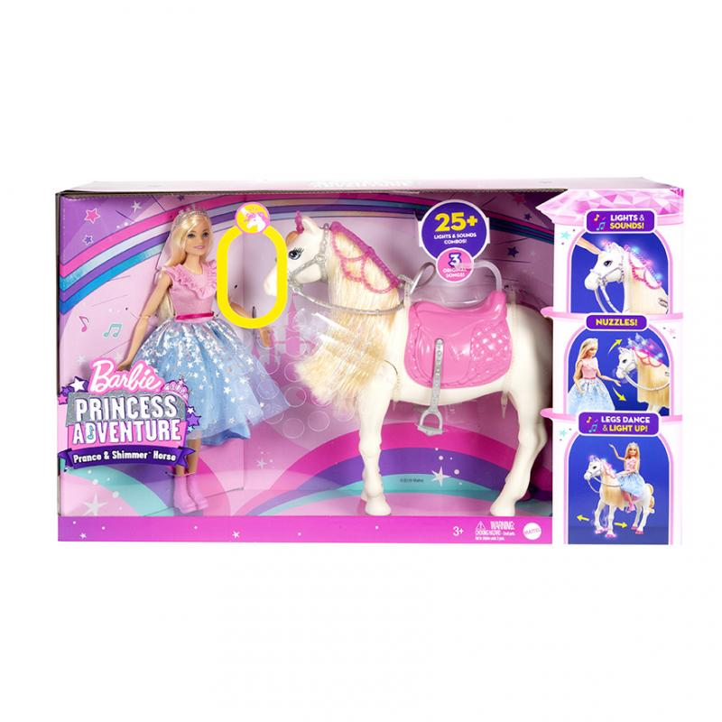 MATTEL BARBIE PRINCESS ADVENTURE PRINCEZNA A KUN SE SVETLY A ZVUKY GML79