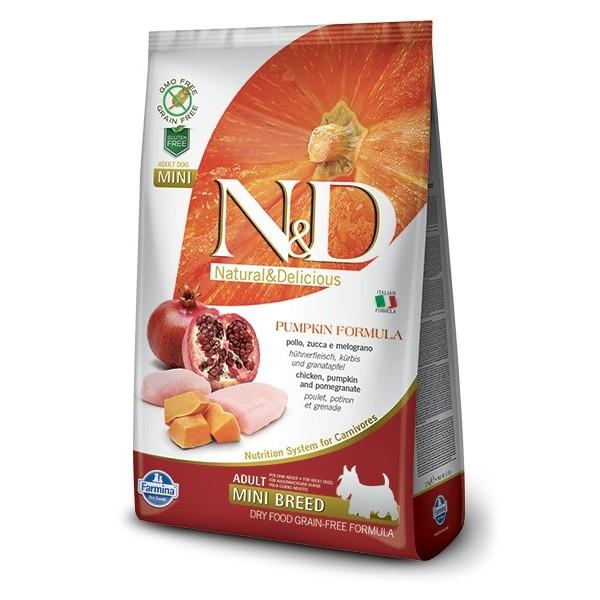 N&D GRAIN FREE PUMPKIN ADULT MINI CH&P 2,5KG KURA&GRANATOVE JABLKO
