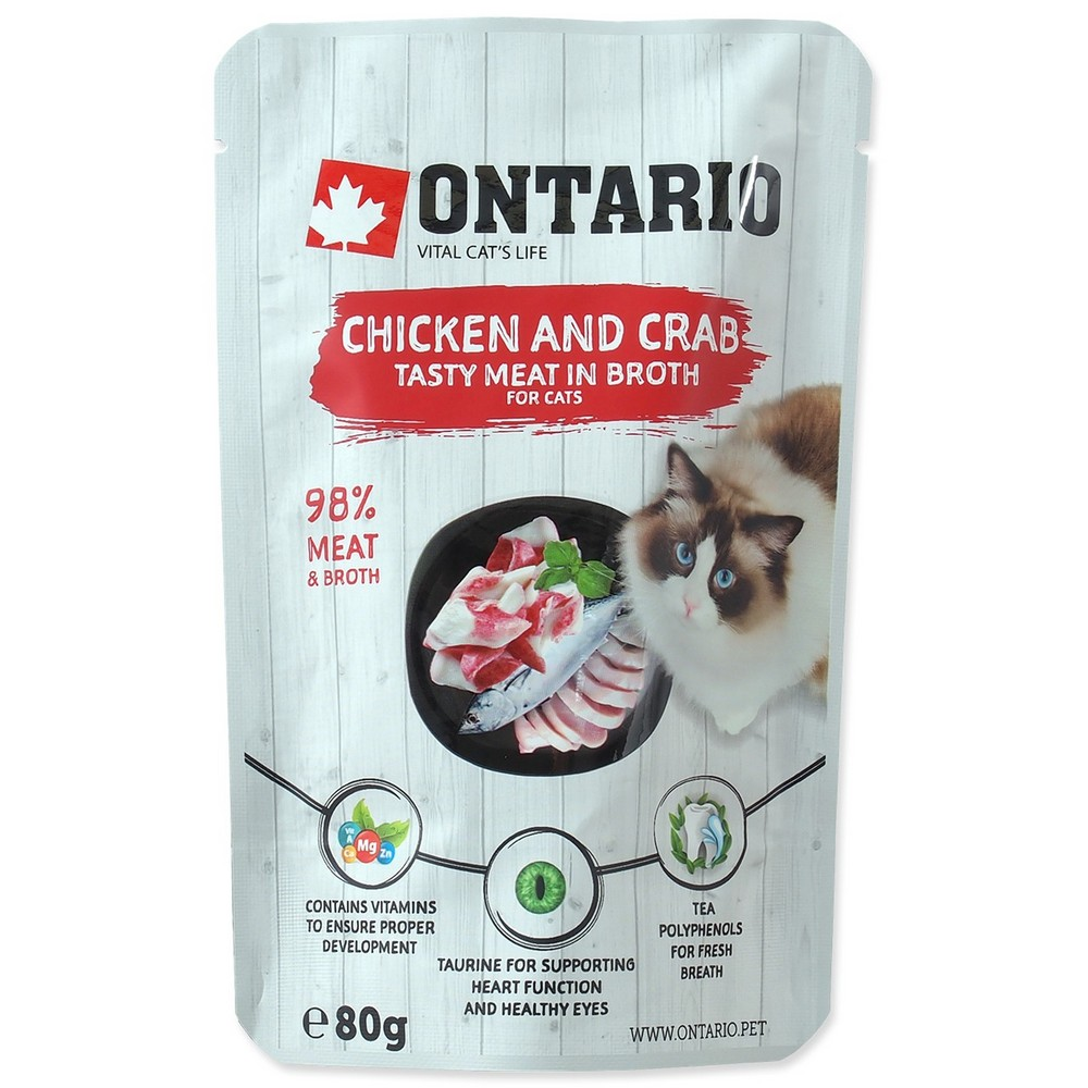 ONTARIO CAT KAPSICKA CHICKEN AND CRAB IN BROTH 80G