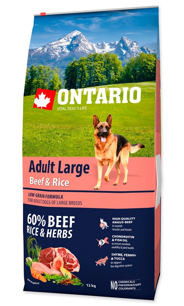 ONTARIO DOG ADULT LARGE BEEF  RICE (12KG)