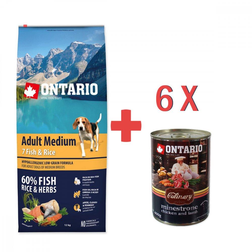 ONTARIO DOG ADULT MEDIUM FISH & RICE (12KG)
