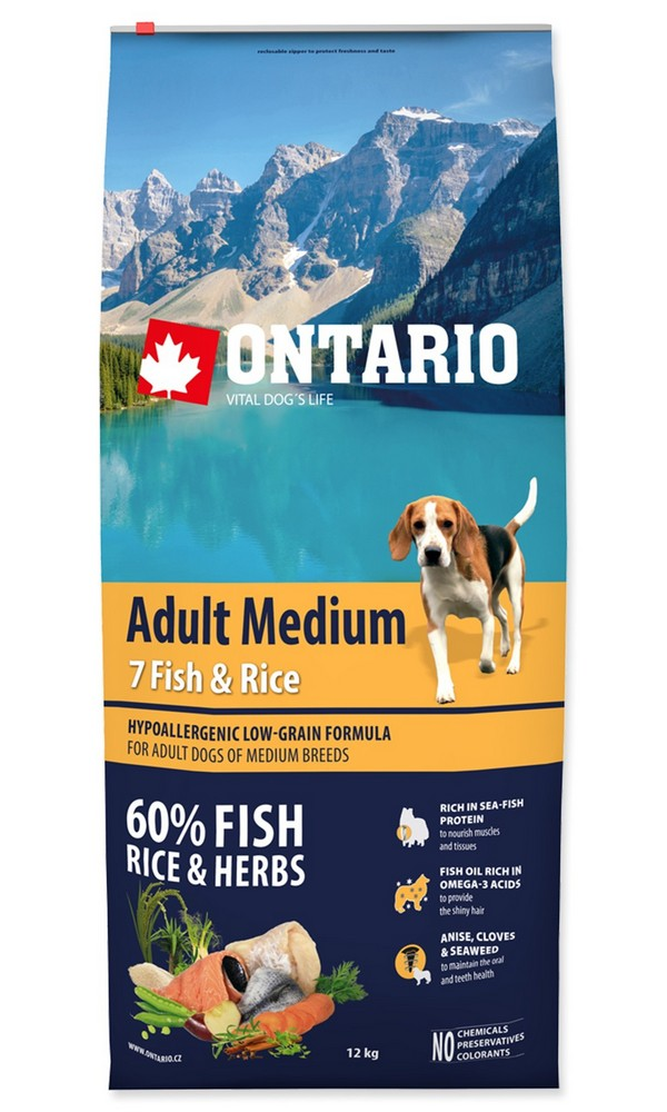 ONTARIO DOG ADULT MEDIUM FISH  RICE (12KG)