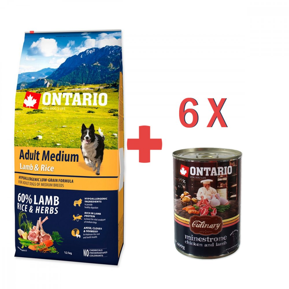 ONTARIO DOG ADULT MEDIUM LAMB & RICE (12KG)