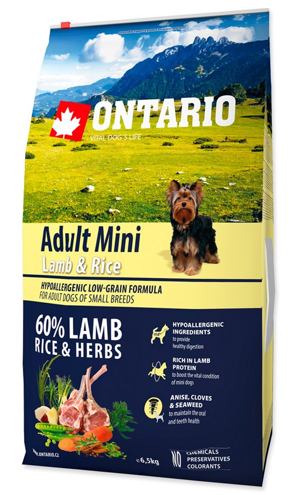 ONTARIO DOG ADULT MINI LAMB & RICE (6,5KG)