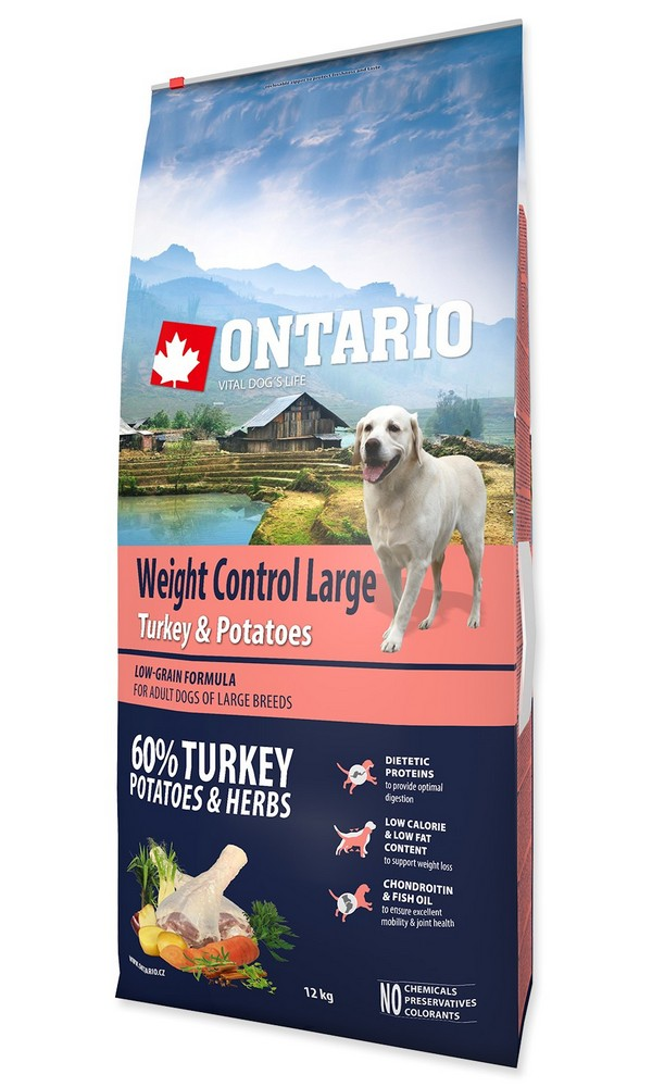 ONTARIO DOG LARGE WEIGHT CONTROL TURKEY  POTATOES  HERBS (12KG)