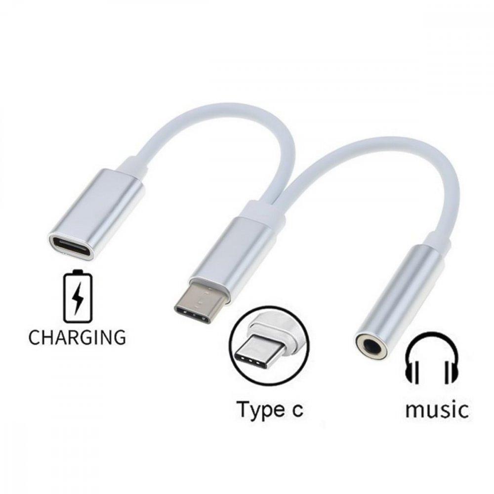 PREMIUMCORD PREVODNIK USB-C NA AUDIO KONEKTOR JACK 3.5MM FEMALE + USB TYP C KONEKTOR PRE NABIJENIE