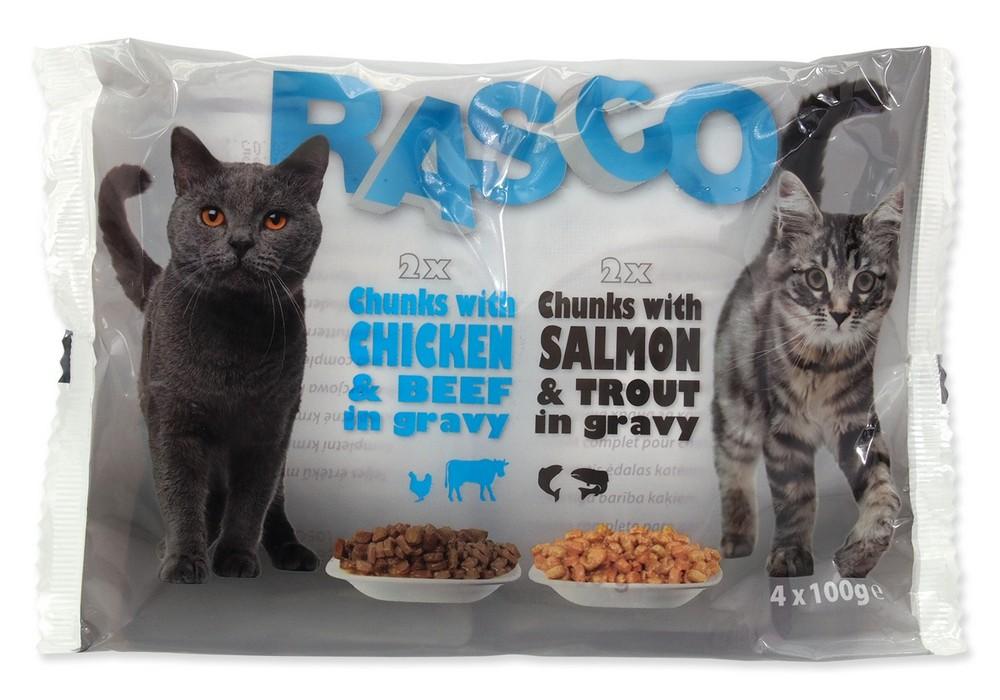 RASCO CAT KAPSICKY S LOSOSOM A PSTRUHOM / S KURACIM A HOVADZIM MULTIPACK (400G)