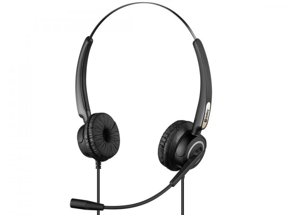 SANDBERG PC SLUCHADLA USB PRO STEREO HEADSET S MIKROFONOM, CIERNE