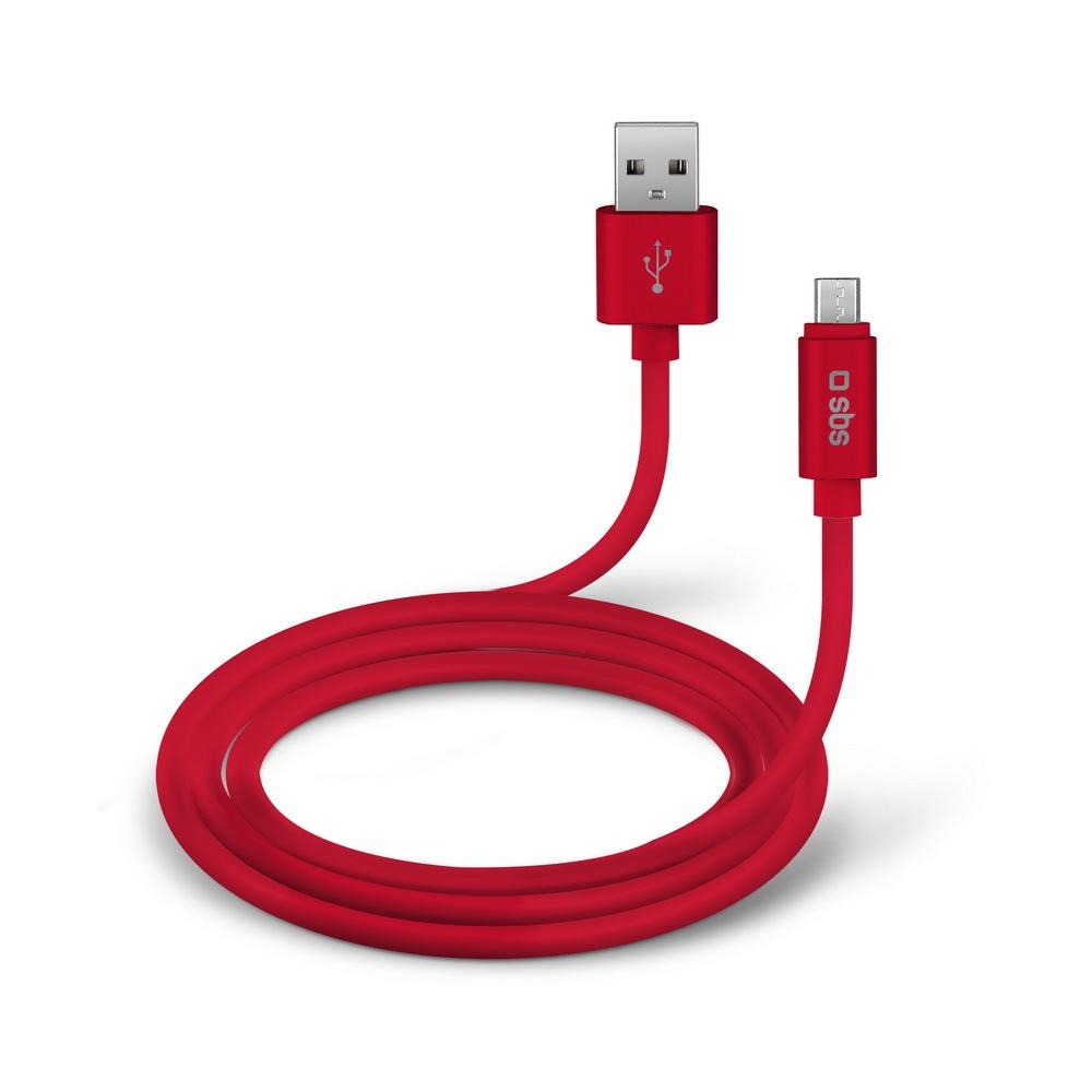 SBS KABEL POLO USB/MICRO-USB SILIKONOVY, 1.5 M, CERVENA, TECABLPOLOMICUSBR